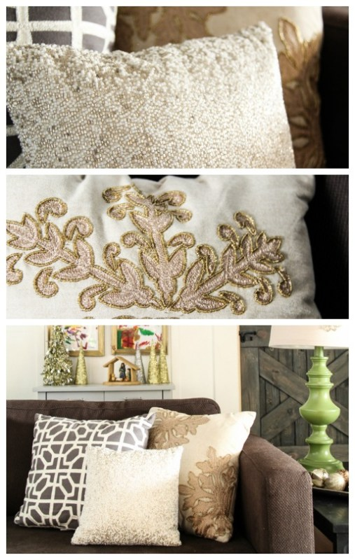Beaded Silver and gold Christmas Pillows
