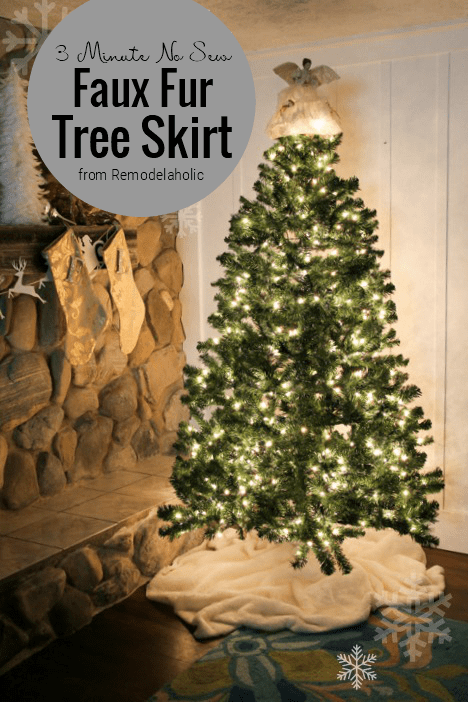 No Sew Faux Fur Christmas Tree Skirt from Remodelaholic