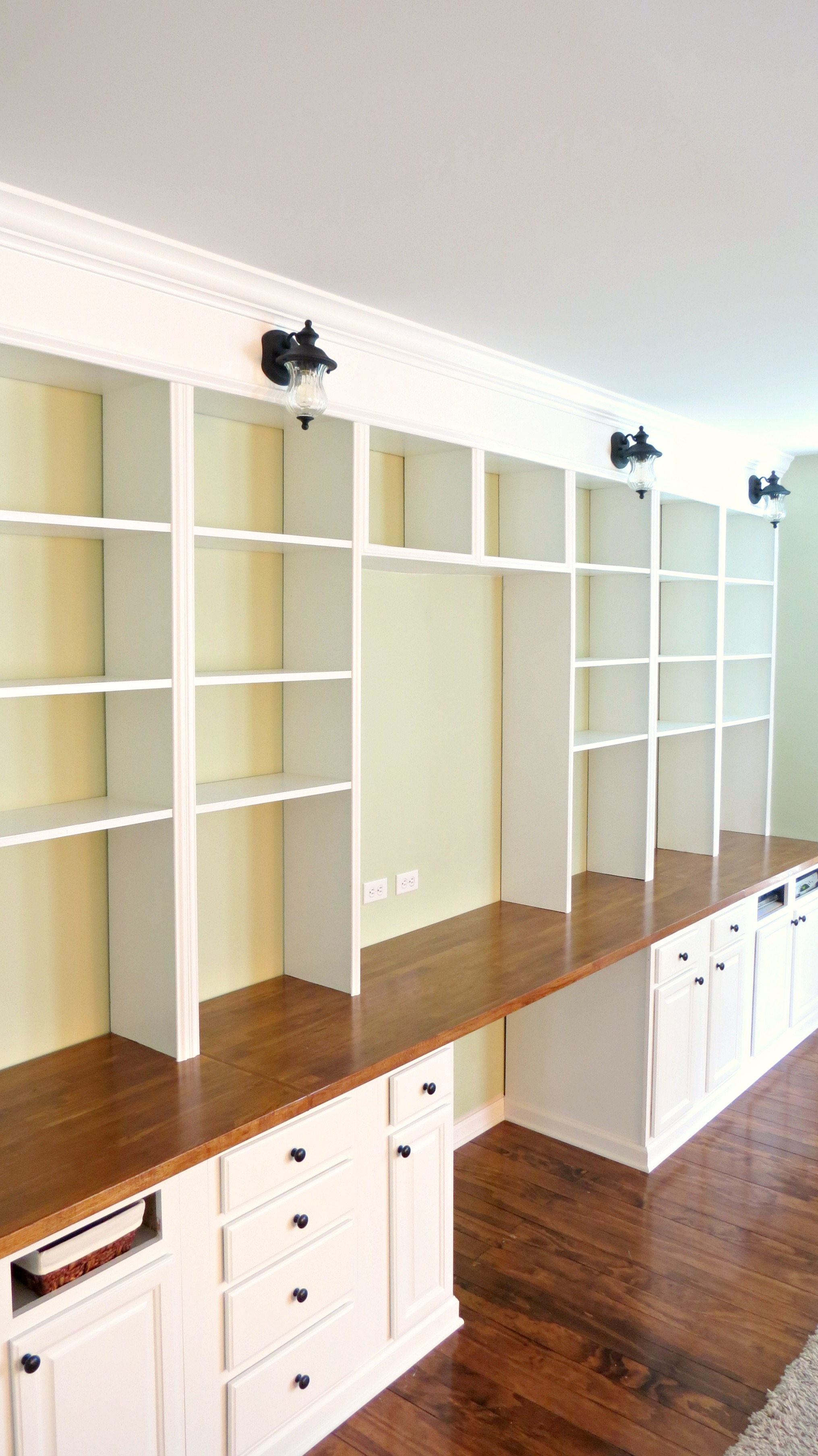 ... build a wall-to-wall built-in desk and bookcase unit, Home