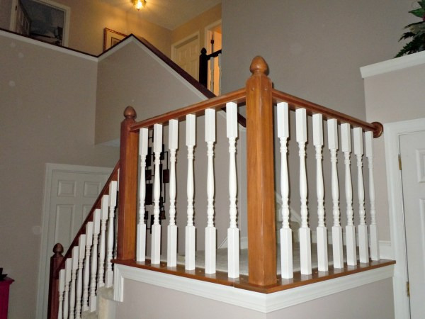 builder grade oak stair railing makeover using gel stain, Semi-Domesticated Mama featured on Remodelaholic