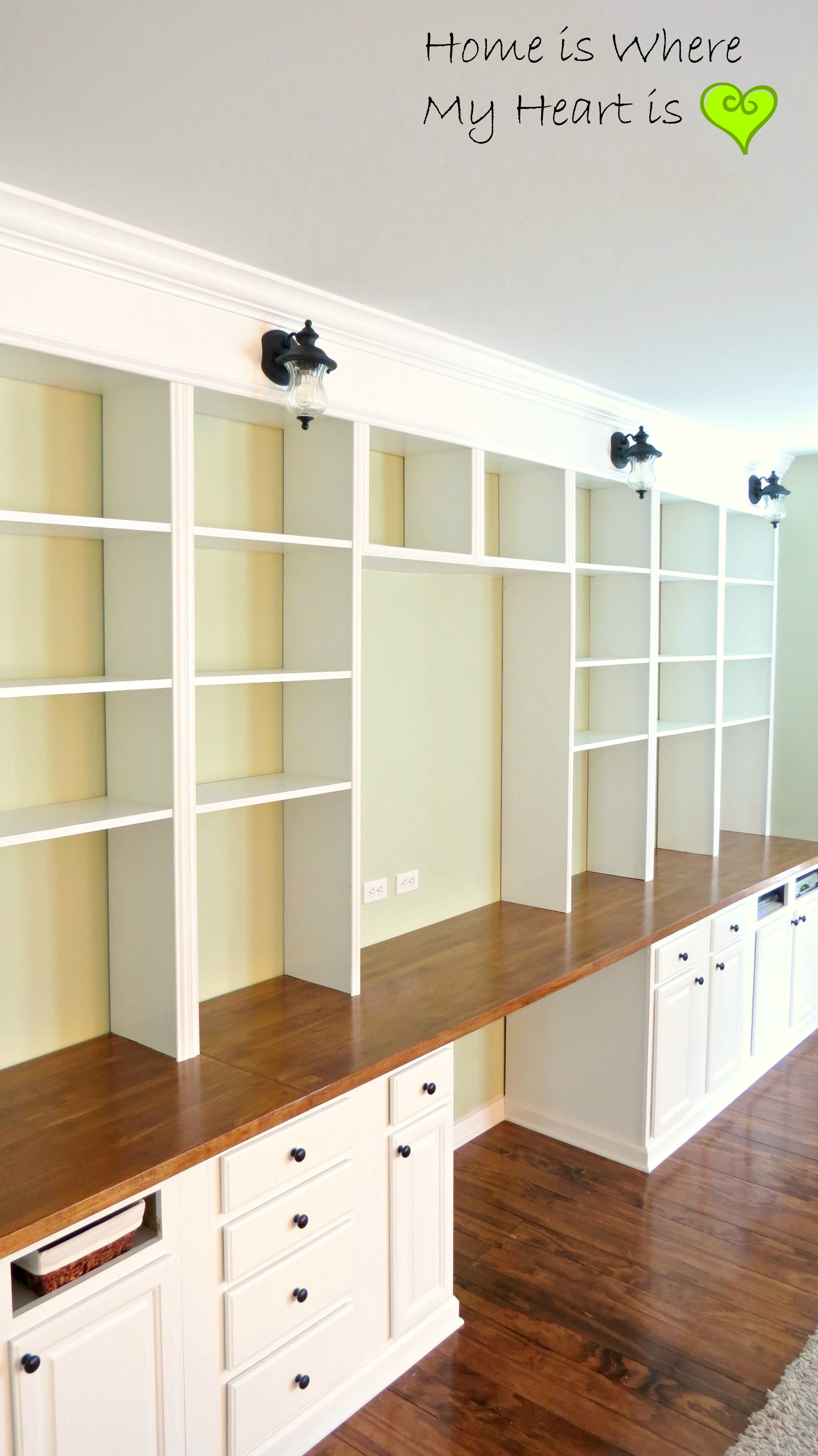 - Remodelaholic Build A Wall-to-Wall Built-In Desk And Bookcase