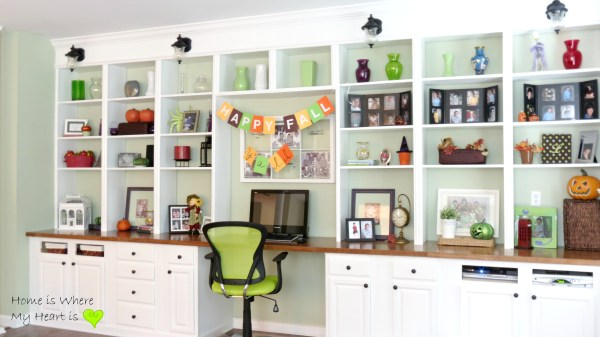 decorated wall-to-wall built-in shelves and desk, Home Is Where My Heart Is featured on Remodelaholic