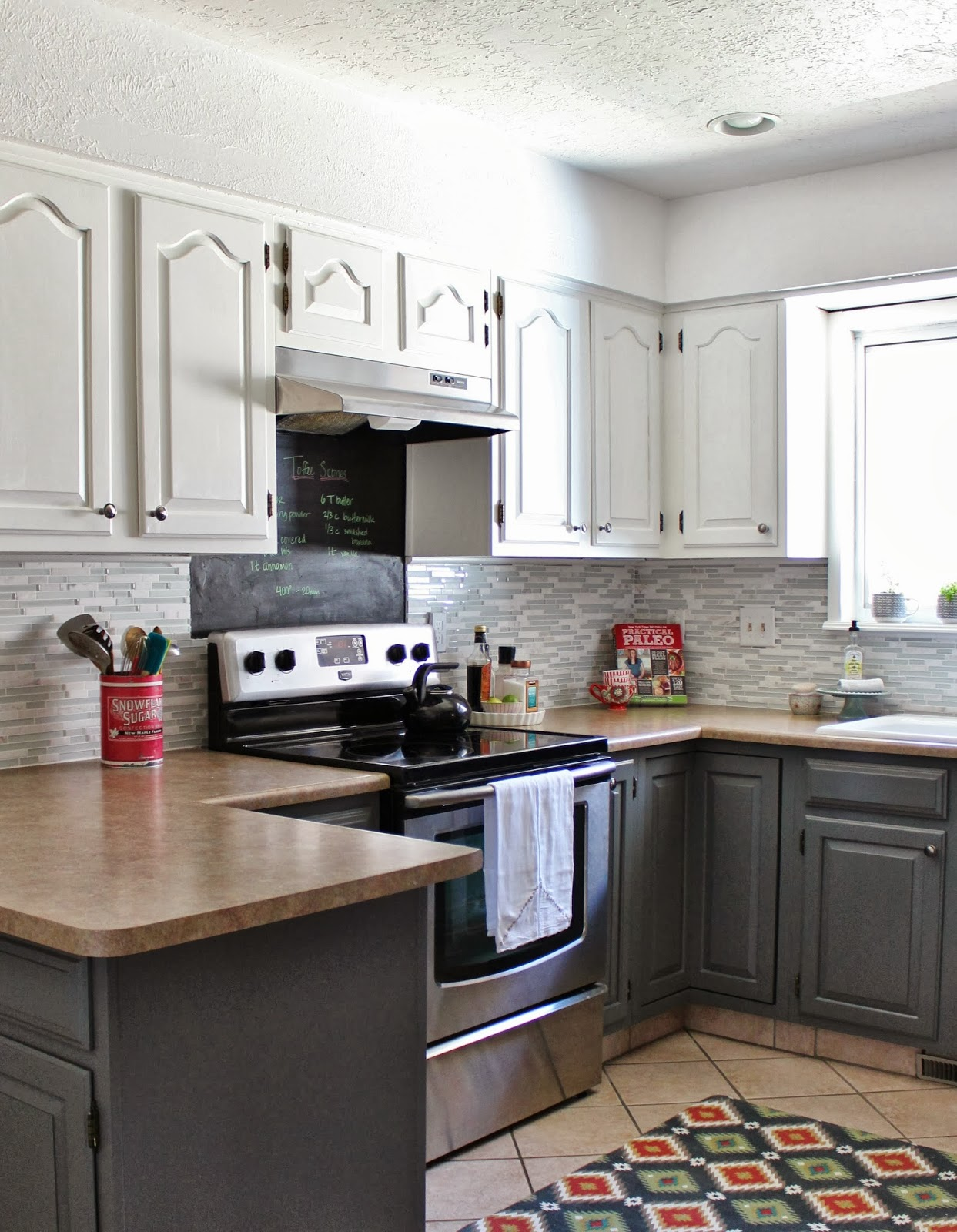 Remodelaholic Grey And White Kitchen Makeover - Grey and white painted kitchen cabinets