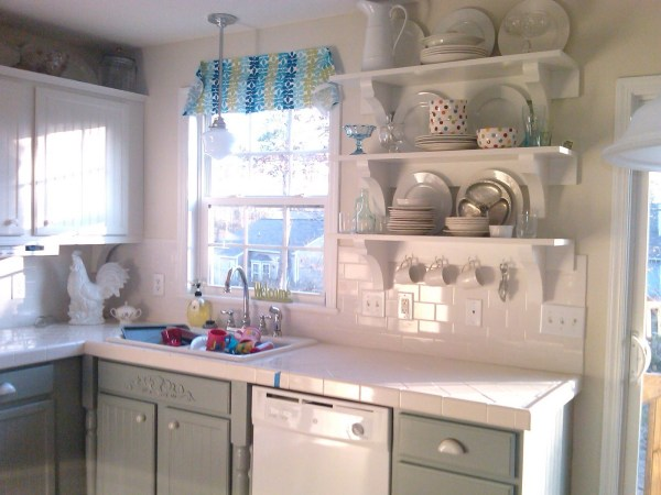 gray and white kitchen makeover, Mom and Her Drill featured on Remodelaholic