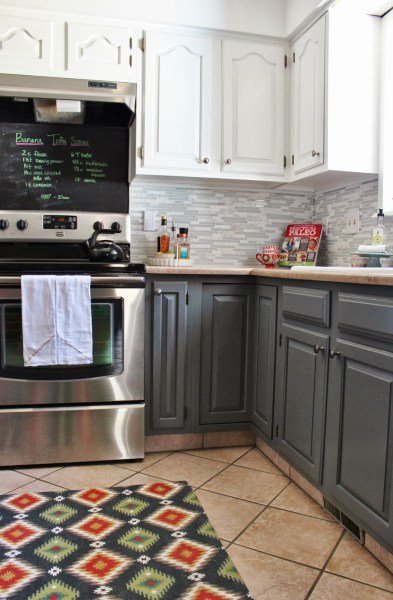 grey and white kitchen makeover with tile backsplash and chalkboard, House For Five featured on Remodelaholic