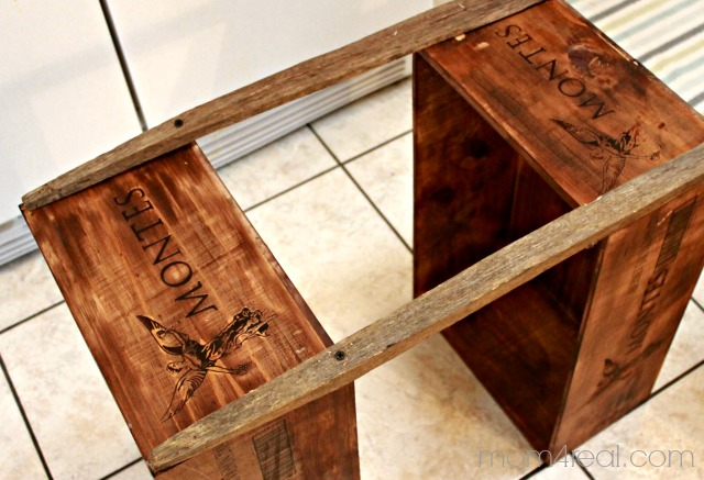 how to build a wine crate shelf, Mom4Real featured on Remodelaholic