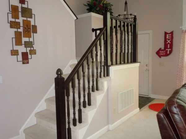 how to redo an oak stair handrail using gel stain, Semi-Domesticated Mama featured on Remodelaholic