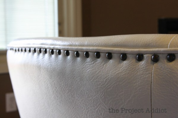 nailhead trim on a restored leather chair, The Project Addict featured on Remodelaholic