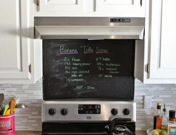 painted chalkboard over the stove instead of backsplash, House For Five featured on Remodelaholic