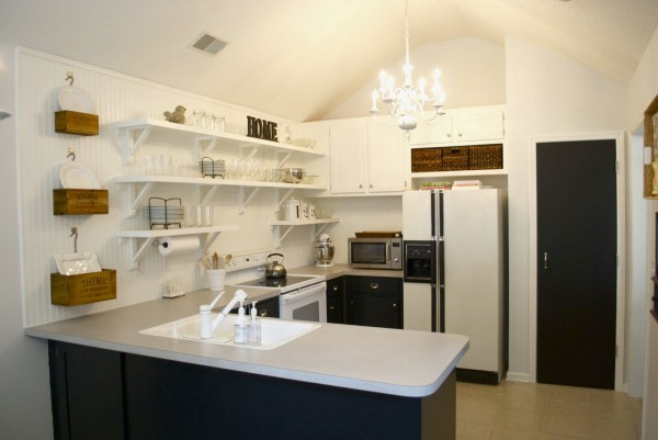 Remove Upper Cabinets For Open Kitchen Shelving, Featured On Remodelaholic