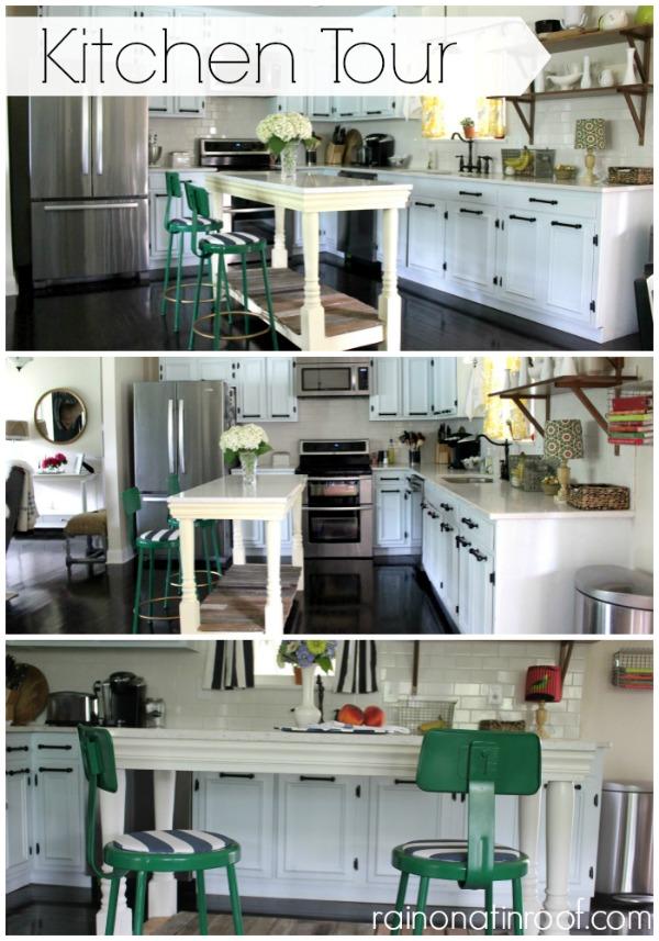 1960's Renovated Ranch Kitchen Tour | Rain On A Tin Roof featured on Remodelaholic.com #kitchentour #renovation #whitekitchen #kitchenisland