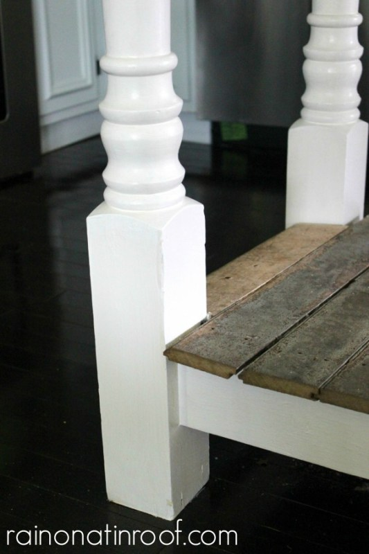 salvaged porch columns for a kitchen island, Rain On A Tin Roof featured on Remodelaholic
