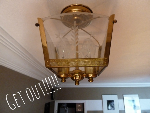 ugly light fixture before chandelier, Bliss At Home featured on Remodelaholic