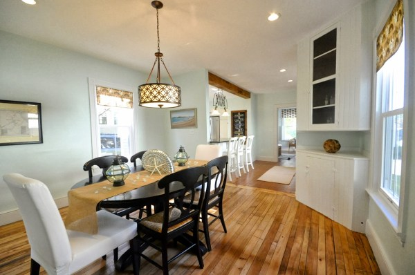updated new englander dining room with pendant light, SoPo Cottage featured on Remodelaholic
