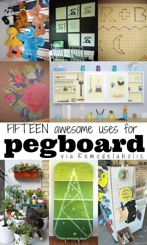 15 Great Uses For Pegboard via Remodelaholic.com #pegboard #decor #organizing