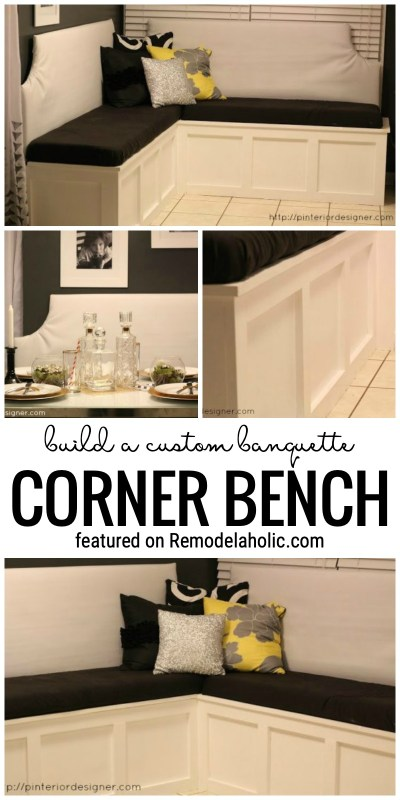Add Storage And Extra Seating To Your Home With This Tutorial For How To Build A Banquette Corner Bench Featured On Remodelaholic.com