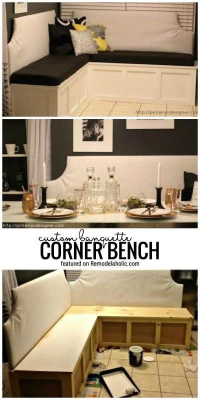 Build Your Very Own Custom Banquette Corner Bench With This Tutorial Featured On Remodelaholic.com