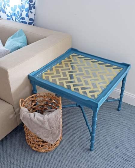 DIY herringbone gold leaf glass tabletop