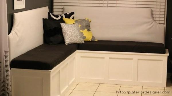 DIY custom corner banquette bench, Pinterior Designer featured on Remodelaholic