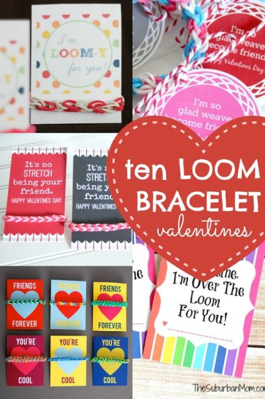 10 Loom Bracelet Valentines + Printable Tags #valentines #rainbowloom #loombracelet #printable Remodelaholic.com