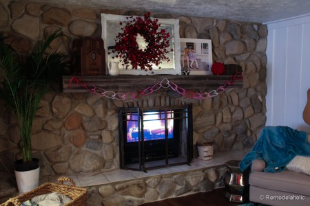 Valentines mantel and TV in fireplace (7 of 8)