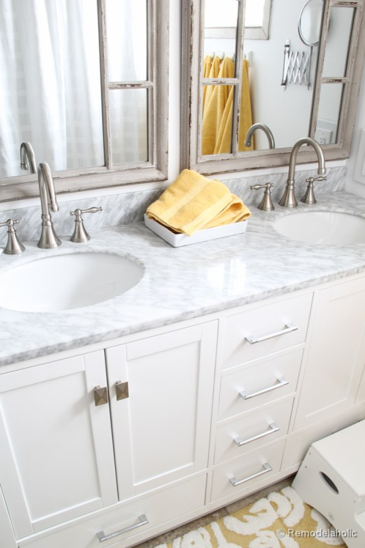 Remodelaholic Updated Bathroom Single Sink Vanity To