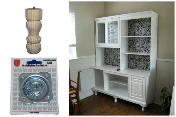 attach legs to a kitchen hutch, The Learner Observer featured on Remodelaholic