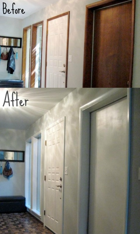before and after, painting wood trim and doors - featured on Remodelaholic