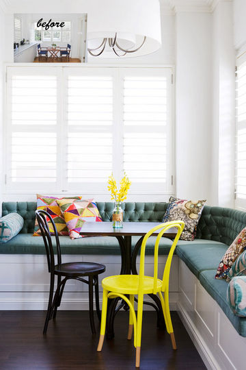 A colorful and comfy corner banquette bench, BHG