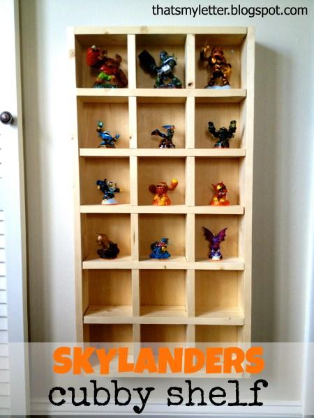 Skylander cubby shelf