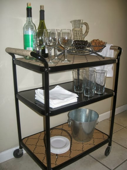 fully stocked bar cart from a salvaged metal cart, The Palette Muse featured on Remodelaholic
