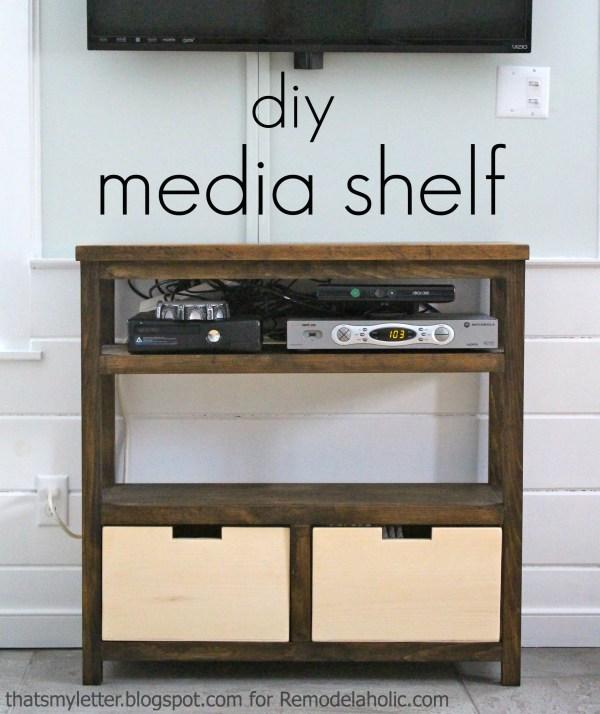 Build an Open Media Shelf | That's My Letter on Remodelaholic.com #mediastorage #openshelving #media #storage #buildingplan