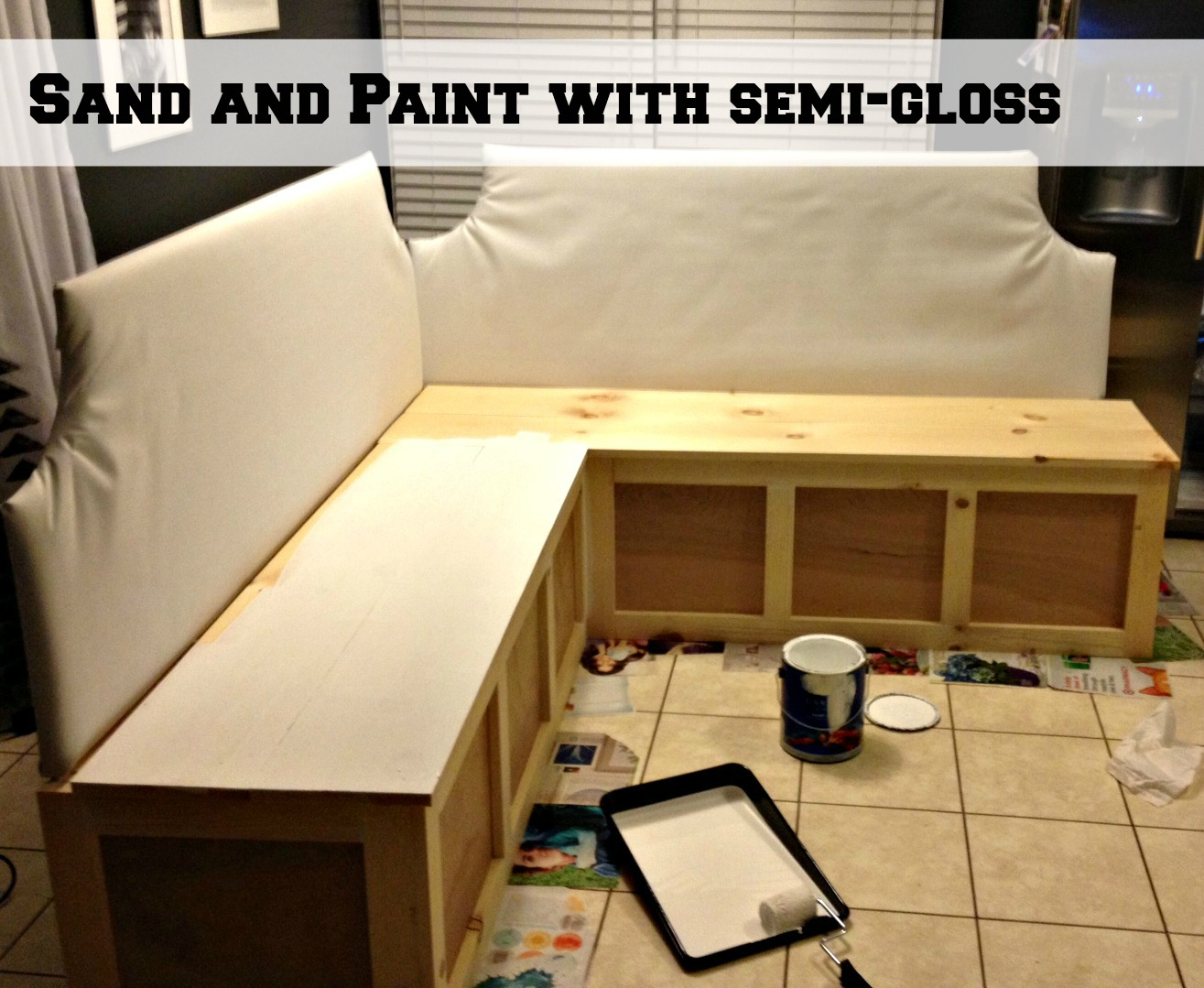 Attractive ... Sand And Paint Corner Banquette Bench, Pinterior Designer Featured On  Remodelaholic