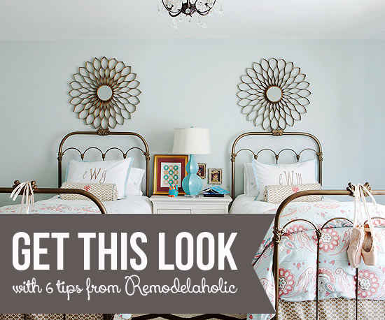 Get This Look - Girls Shared Bedroom Symmetry from Remodelaholic.com
