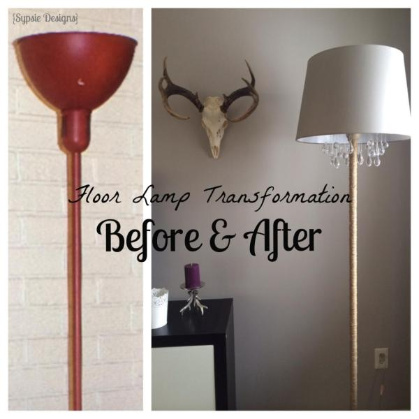 before and after chandelier floor lamp, Sypsie Designs featured on Remodelaholic