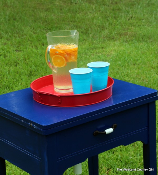 blue drink cooler sewing table closed, The Weekend Country Girl featured on Remodelaholic