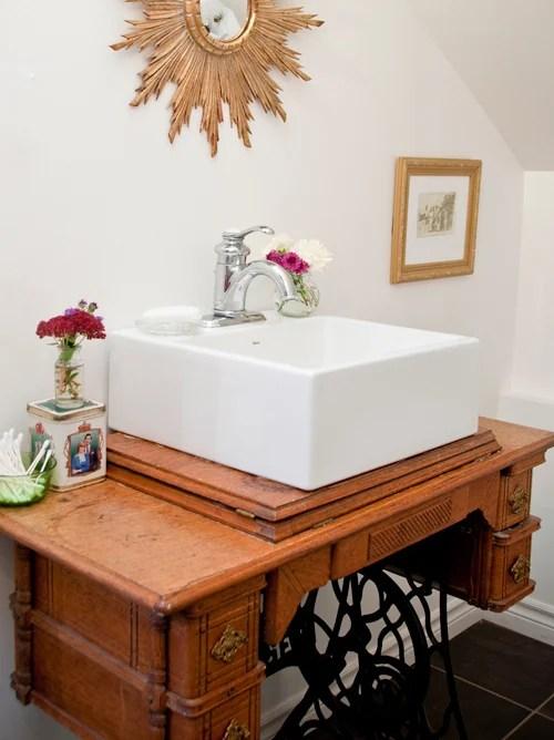 sewing table as bathroom vanity