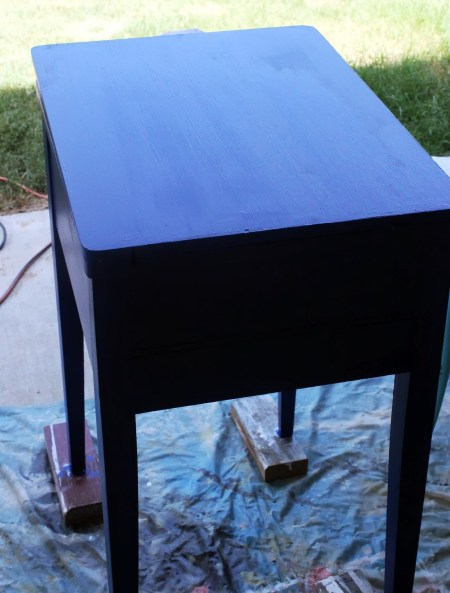 sewing table painted sailboat blue, The Weekend Country Girl featured on Remodelaholic