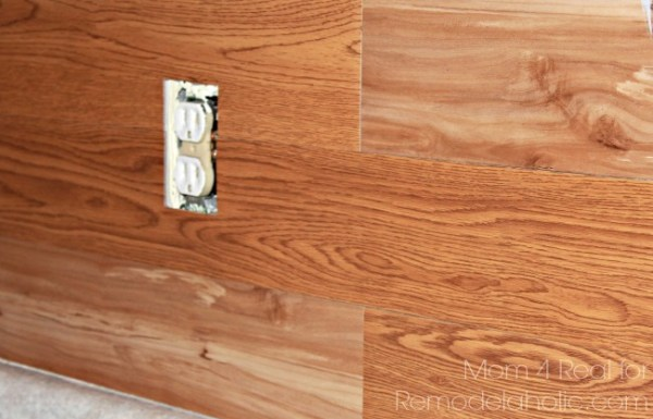 Make a plank wall using peel and stick vinyl