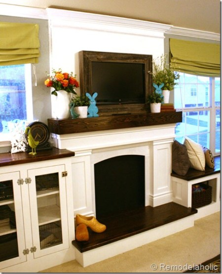 fake fireplace and mantel to hide TV cords, Remodelaholic