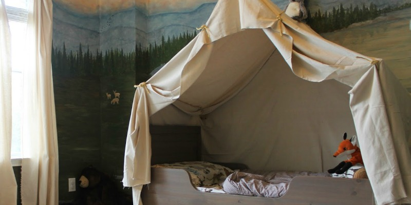 Remodelaholic  Camping Tent Bed in a Kids Woodland Bedroom