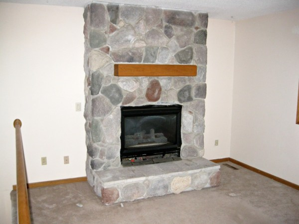 fireplace before makeover, construction2style on Remodelaholic