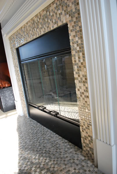 fireplace update with mosaic tiles, featured on Remodelaholic