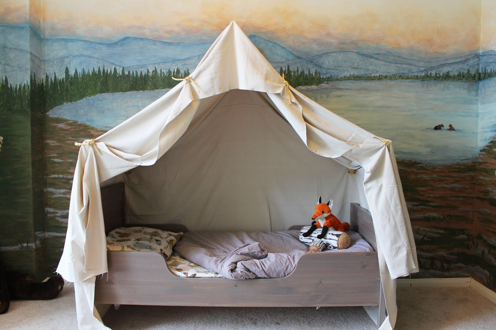 Remodelaholic | Camping Tent Bed in a Kid\'s Woodland Bedroom