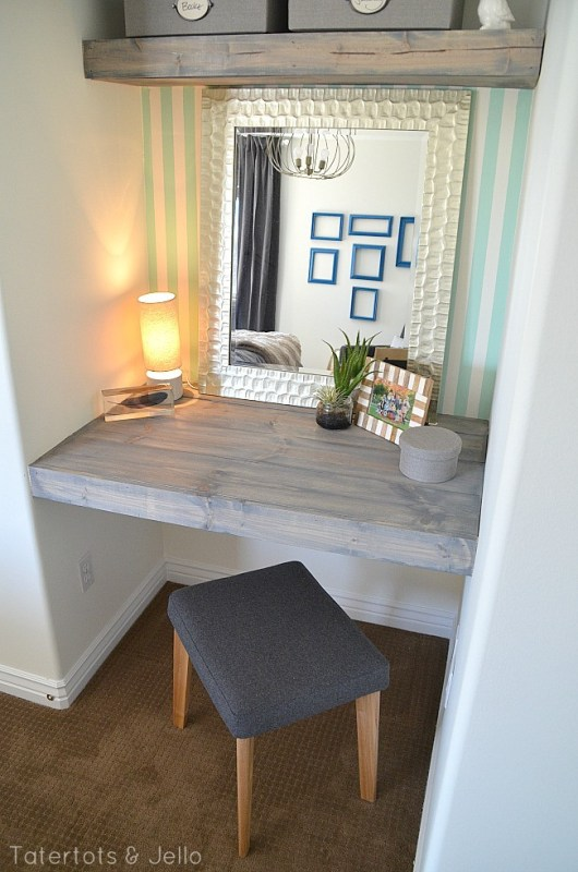 mint and gold study nook
