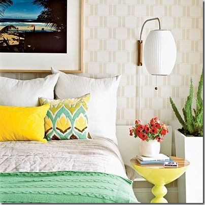 mint and yellow bedroom