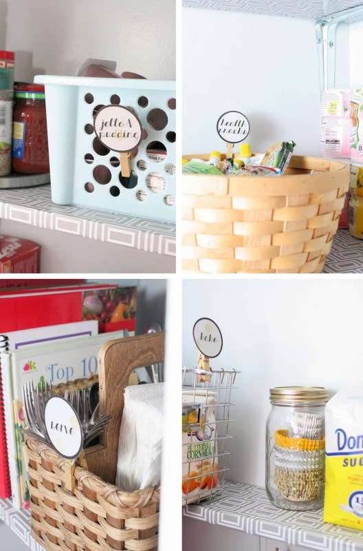 use baskets and bins to organize pantry, Craftivity Designs on Remodelaholic