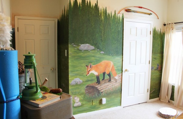 woodland themed mural in kids room, The Ragged Wren on Remodelaholic