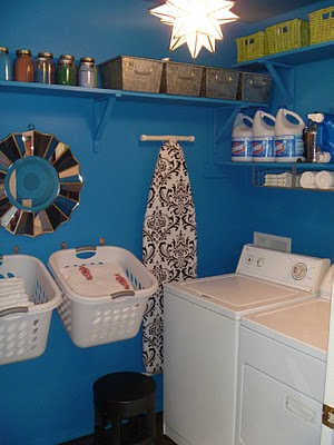 painted small laundry room makeover on Remodelaholic.com