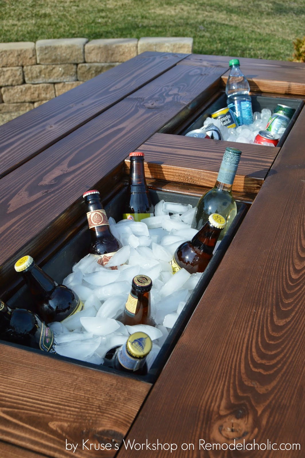 Remodelaholic  Building Plans Patio Table with Builtin Drink Coolers